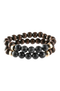 A3-1-4-AHDB2782BK BLACK 2 LINE NATURAL STONE AND WOOD BEADS BRACELET/6PCS