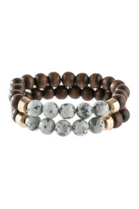SA3-1-4-AHDB2782CH CHARCOAL 2 LINE NATURAL STONE AND WOOD BEADS BRACELET/6PCS