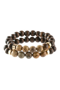 A3-1-4-AHDB2782LCT LIGHT BROWN 2 LINE NATURAL STONE AND WOOD BEADS BRACELET/6PCS
