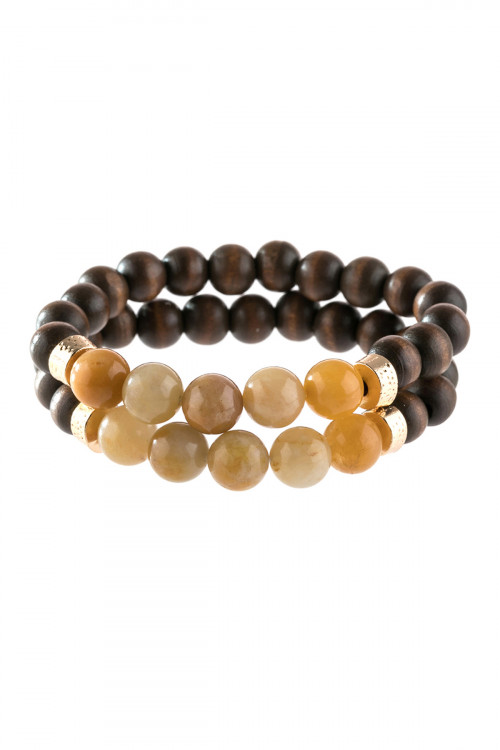 A2-2-4-AHDB2782MU MUSTARD 2 LINE NATURAL STONE AND WOOD BEADS BRACELET/6PCS