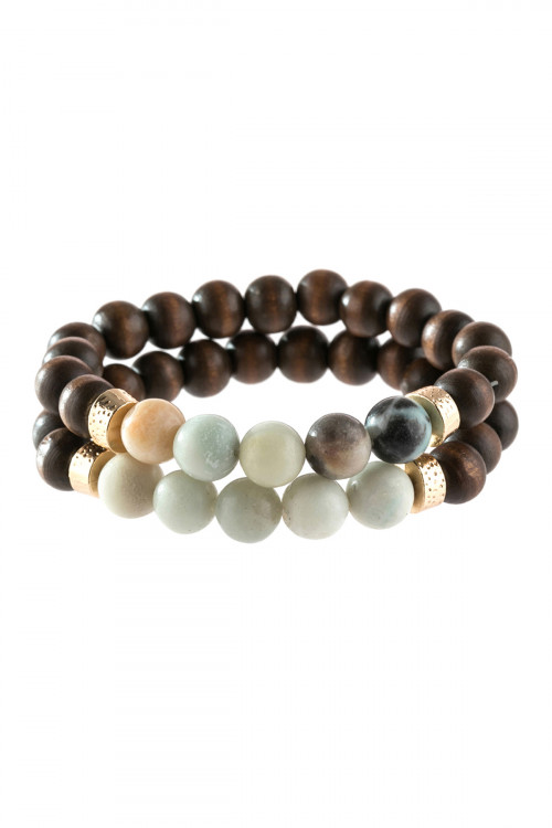 A3-1-4-AHDB2782POM AMAZONITE 2 LINE NATURAL STONE AND WOOD BEADS BRACELET/6PCS