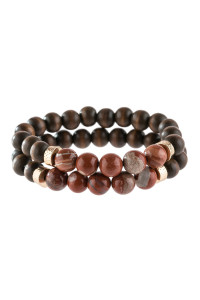 A3-1-4-AHDB2782RD RED 2 LINE NATURAL STONE AND WOOD BEADS BRACELET/6PCS