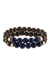 A3-1-4-AHDB2782SP SAPPHIRE 2 LINE NATURAL STONE AND WOOD BEADS BRACELET/6PCS