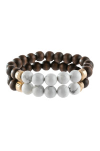 A2-2-2-AHDB2782WT WHITE 2 SET NATURAL STONE AND WOOD BEADS BRACELET/6PCS