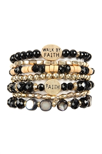 A1-1-5-AHDB2833BK BLACK WALK BY FAITH CHARM MIX BEADS BRACELET/6PCS
