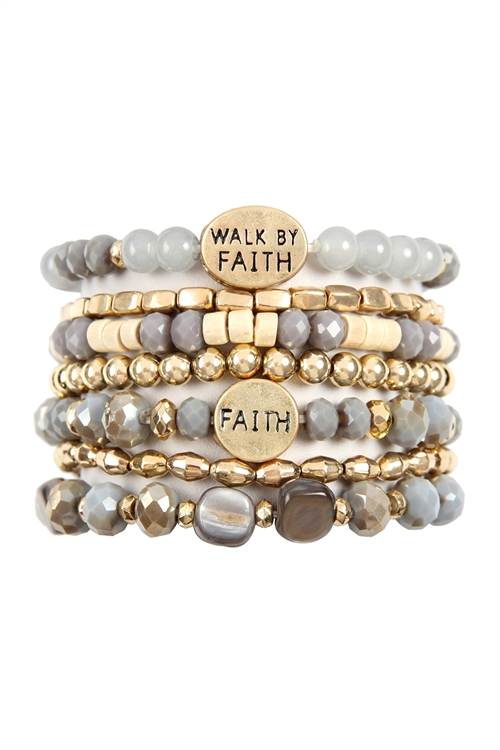 A3-1-3-AHDB2833GY GRAY WALK BY FAITH CHARM MIX BEADS BRACELET/6PCS