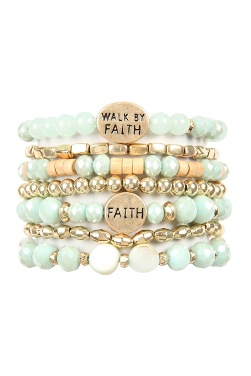 A1-1-5-AHDB2833MN MINT WALK BY FAITH CHARM MIX BEADS BRACELET/6PCS