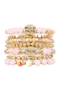 A1-1-5-AHDB2833PK PINK WALK BY FAITH CHARM MIX BEADS BRACELET/6PCS