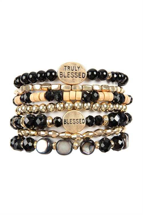 A3-1-3-AHDB2834BK BLACK TRULY BLESSED CHARM MIX BEADS BRACELET/6PCS