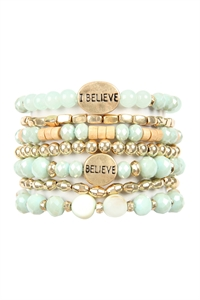 S4-4-1-AHDB2852MN MINT I BELIEVE CHARM MIX BEADS BRACELET/6PCS