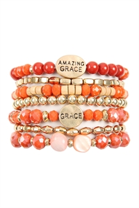 S6-4-1-AHDB2853CO CORAL AMAZING GRACE CHARM MIX BEADS BRACELET/6PCS
