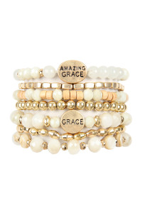 S4-6-2-AHDB2853NA NATURAL AMAZING GRACE CHARM MIX BEADS BRACELET/6PCS