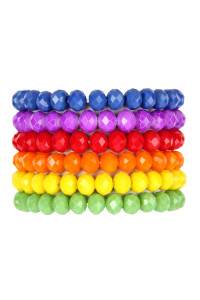 A1-3-1-AHDB2854 SIX MULTICOLOR STRETCH GLASS BEADS BRACELET SET/6SETS