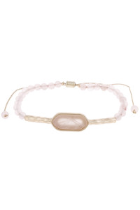 S6-6-5-AHDB2907LPK LIGHT PINK NATURAL STONE BEADS SLIDER BAR BRACELET/6PCS