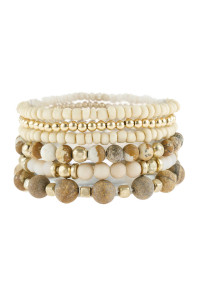 A2-1-2-AHDB2928LCT LIGHT BROWN NATURAL STONE MIXED BEADS CHARM BRACELET/6PCS