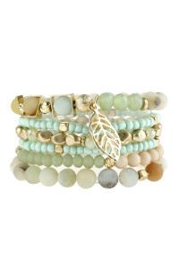 A2-1-5-AHDB2929POM AMAZONITE NATURAL STONE MIXED BEADS LEAF CHARM BRACELET/6PCS