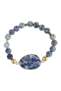 S6-4-5-AHDB2941BL BLUE NATURAL BIG STONE CHARM BRACELET/6PCS