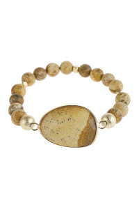A1-2-5-AHDB2941LCT LIGHT BROWN NATURAL BIG STONE CHARM BRACELET/6PCS