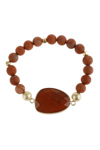 S6-4-5-AHDB2941RD RED NATURAL BIG STONE CHARM BRACELET/6PCS