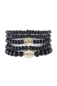 "S5-6-5-AHDB2942BK BLACK ""BELIEVE"" WOOD STACKABLE BEADED BRACELET/6PCS"