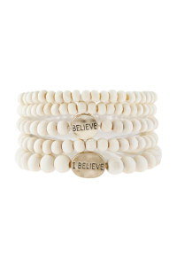 "S5-6-5-AHDB2942IV IVORY ""BELIEVE"" WOOD STACKABLE BEADED BRACELET/6PCS"