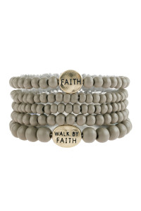 "S5-6-5-AHDB2943GY GRAY ""FAITH"" WOOD STACKABLE BEADED BRACELET/6PCS"