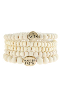 "S6-6-5-AHDB2943IV IVORY ""FAITH"" WOOD STACKABLE BEADED BRACELET/6PCS"