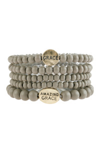 "S6-6-5-AHDB2944GY GRAY ""GRACE"" WOOD STACKABLE BEADED BRACELET/6PCS"