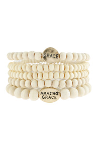 "S6-6-5-AHDB2944IV IVORY ""GRACE"" WOOD STACKABLE BEADED BRACELET/6PCS"