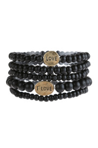 "S6-6-5-AHDB2945BK BLACK ""LOVE"" WOOD STACKABLE BEADED BRACELET/6PCS"