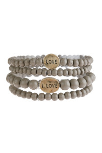 "S5-6-5-AHDB2945GY GRAY ""LOVE"" WOOD STACKABLE BEADED BRACELET/6PCS"