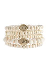 "S6-6-5-AHDB2945IV IVORY ""LOVE"" WOOD STACKABLE BEADED BRACELET/6PCS"