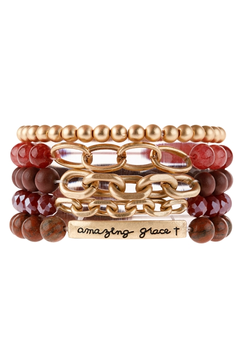 "A2-1-1-HDB2995BU-""AMAZING GRACE"" MIX BEADS CHARM BRACELET-BURGUNDY/6PCS"