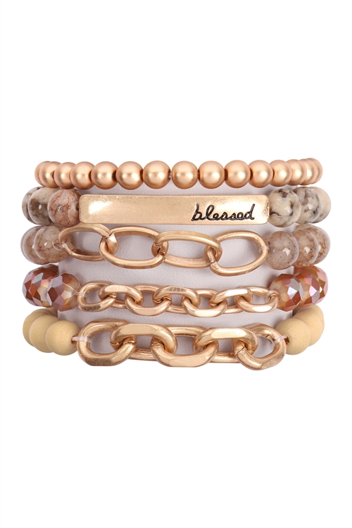 A1-2-1-HDB2996BR-BLESSED CHARM MULTILINE BEADED BRACELET-BROWN/6PCS