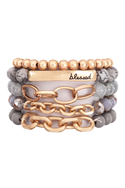 A1-1-1-HDB2996GY - BLESSED CHARM MULTILINE BEADED BRACELET-GRAY/6PCS
