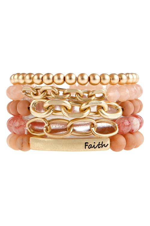 A2-2-1-HDB2997DPKMULTI LINE FAITH CHARM BEADED BRACELET-DUSTY PINK/6PCS
