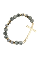 S21-7-5-HDB2998GY--MIX BEADS HAMMERED CROSS BRACELET-GRAY/6PCSS