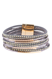 S20-9-1-HDB3067GY-MULTILINE LEATHER MAGNETIC BRACELET-GRAY/6PCS