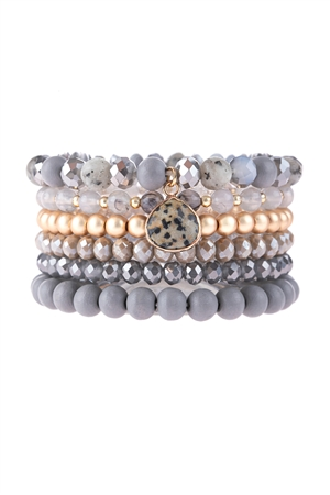 S17-7-2-HDB3126GY-MULTI LINE BEADED BRACELET-GRAY/6PCS