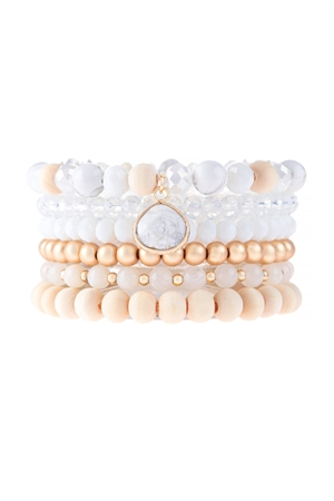 S17-7-1-HDB3126NA-MULTI LINE BEADED BRACELET-NATURAL/6PCS