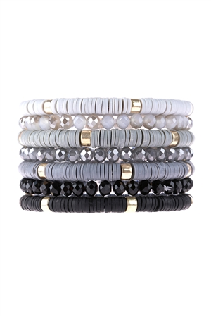 S17-11-2-HDB3128BK-MULTI LINE RING BEADED BRACELET-BLACK/6PCS