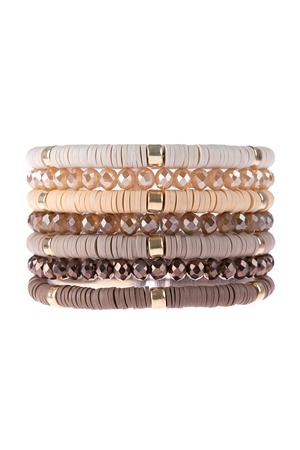 S17-11-2-HDB3128BR-MULTI LINE RING BEADED BRACELET-BROWN/6PCS