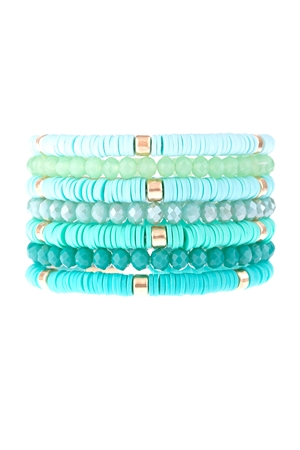 S17-11-2-HDB3128MN-MULTI LINE RING BEADED BRACELET-MINT/6PCS