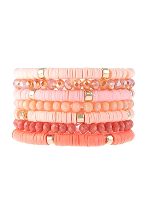 S17-11-2-HDB3128PE-MULTI LINE RING BEADED BRACELET-PEACH/6PCS