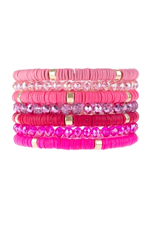 S17-11-2-HDB3128PK-MULTI LINE RING BEADED BRACELET-PINK/6PCS
