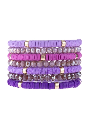S17-11-2-HDB3128PU-MULTI LINE RING BEADED BRACELET-PURPLE/6PCS