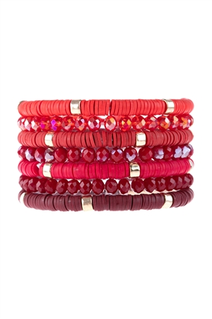 S17-11-2-HDB3128RD-MULTI LINE RING BEADED BRACELET-RED/6PCS