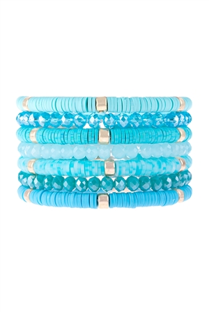 S17-11-1-HDB3128TQ-MULTI LINE RING BEADED BRACELET-TURQUOISE/6PCS