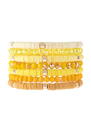S17-11-2-HDB3128YW-MULTI LINE RING BEADED BRACELET-YELLOW/6PCS