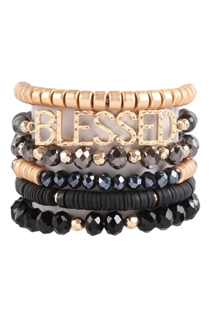 S17-1-1-HDB3129BK-BLESSED CHARM MULTILINE BEADED BRACELET-BLACK/6PCS